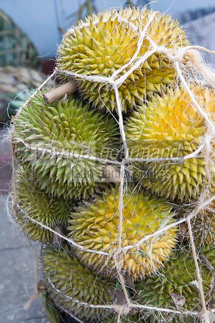 Afrique/Afrique de l'Est/Tanzanie/Zanzibar/Ile Unguja/Stone Town: au Marché Daradjani durians sur un étal