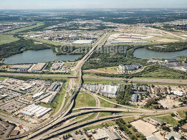 Freeway interchange, Dallas-Ft. Worth metroplex from a window seat flying to Pittsburgh, Penn.