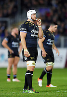 Dave Attwood of Bath Rugby looks on during a break in play. European Rugby Challenge Cup match, between Bath Rugby and Cardiff Blues on December 15, 2016 at the Recreation Ground in Bath, England. Photo by: Patrick Khachfe / Onside Images