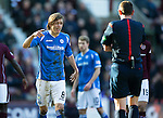 Hearts v St Johnstone&hellip;19.03.16  Tynecastle, Edinburgh<br />Murray Davidson has words with ref Craig Thomson<br />Picture by Graeme Hart.<br />Copyright Perthshire Picture Agency<br />Tel: 01738 623350  Mobile: 07990 594431