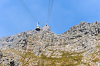 Table Mountain is a flat mesa  overlooking the city of Cape Town in South Africa. Cableway.