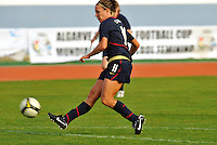 Lauren Cheney scores vs. Iceland.  The USWNT defeated Iceland (2-0) at Vila Real Sto. Antonio in their opener of the 2010 Algarve Cup on February 24, 2010.