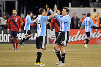 Javier Mascherano (14) and Javier Zanetti (8) of Argentina celebrate a goal. The United States (USA) and Argentina (ARG) played to a 1-1 tie during an international friendly at the New Meadowlands Stadium in East Rutherford, NJ, on March 26, 2011.