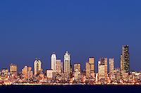 Seattle skyline and Elliot Bay viewed from West Seattle, Seattle, Washington, US