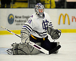 29 December 2007: Holy Cross Crusaders' goaltender Charlie Lockwood, a Junior from Breckenridge, Colorado, warms up prior to a game against the University of Vermont Catamounts at Gutterson Fieldhouse in Burlington, Vermont. The Catamounts rallied in the final seconds of play to tie the game 1-1. After overtime, although the official result remained a tie game, the Cats moved up to the championship round by winning a sudden death shootout in the second game of the Sheraton/TD Banknorth Catamount Cup Tournament...Mandatory Photo Credit: Ed Wolfstein Photo