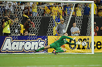 Manchester City  goalkeeper Shay Given saves a Club America penalty kick. The 2010 Atlanta International Soccer Challenge was held, Wednesday, July 28, at the Georgia Dome, featuring a match between Club America and Manchester City. After regulation time ended 1-1, Manchester City was awarded the victory, winning 4-1, in penalty kicks.