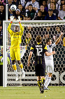 Donovan Ricketts GK of the LA Galaxy leaps high to make a save. The LA Galaxy defeated the Columbus Crew 3-1 at Home Depot Center stadium in Carson, California on Saturday Sept 11, 2010.