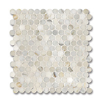 2 cm Pennyrounds shown in polished Calacatta Gold is part of New Ravenna's Studio Line. All mosaics in this collection are ready to ship within 48 hours.<br />