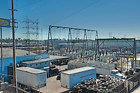 Electrical substation, electricity, generation, transmission, distribution system, voltage, transformed, high to low or the reverse using transformers, voltage, current, domestic, commercial, distribution, substation, system, grid, generator, housed,  subsidiaries, power, station
