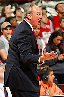 Ohio State Buckeyes head coach Thad Matta questions a call during the second half of the NCAA basketball game Wyoming Cowboys at Value City Arena in Columbus on Nov. 25, 2013. The Buckeyes won 65-50. (Adam Cairns / The Columbus Dispatch)