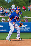 8 March 2015: New York Mets infielder Gavin Cecchini in Spring Training action against the Boston Red Sox at Tradition Field in Port St. Lucie, Florida. The Mets fell to the Red Sox 6-3 in Grapefruit League play. Mandatory Credit: Ed Wolfstein Photo *** RAW (NEF) Image File Available ***