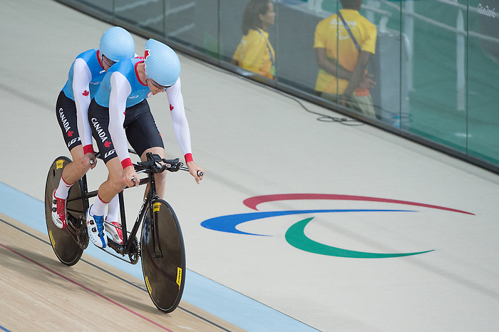 RIO DE JANEIRO - 6/9/2016:  Daniel Chalifour and his pilot Jean-Michel Lachance during track cycling training at the Paralympic Village at the Rio 2016 Paralympic Games. (Photo by Matthew Murnaghan/Canadian Paralympic Committee