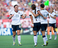Abby Wambach (20) celebrates the goal of Sydney Leroux (2) of the USWNT during an international friendly at the Florida Citrus Bowl in Orlando, FL.  The USWNT defeated Brazil, 4-1.