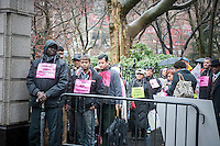 Street food vendors gather in front of New York City Hall prior to entering the City Council on Wednesday, February 27, 2013. The City Council is voting today to lower the draconian $1000 fines (to $500) imposed by the city for various minor administrative infractions unrelated to health and sanitation. The vendors credit NY City Council Speaker for bringing the bill to lower the fines to the floor and for the majority of votes needed to override Mayor Michael Bloomberg's announced veto. (© Richard B. Levine)