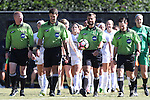 23 October 2016: Match Officials. From left: Assistant Referee Scott Bowers, Fourth Official Kevin Uitto, Referee Mark Sauro, and Assistant Referee Eric Usher. The Wake Forest University Demon Deacons hosted the University of Notre Dame Fighting Irish at Spry Stadium in Winston-Salem, North Carolina in a 2016 NCAA Division I Women's Soccer match. Notre Dame won the game 1-0.