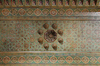Carved and painted cedar wood from reception room, Kasbah of the Glaoua family, Telouet, High Atlas, Morocco. The fortress was begun in the 19th century as the residence Thami el Glaoui, 1879-1956, who was Pasha of Marrakech 1912-56. It sits at 1800m in the Atlas mountains on an ancient caravan route from the Sahara to Marrakech. Picture by Manuel Cohen