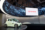 Toyota Motor Corp.'s FT-EV11 electric concept car is displayed during a pre-opening day for the media two days before the start of the 41st Tokyo Motor Show 2009 at Makuhari Messe in Chiba, Japan on Wed., Oct. 21 2009..Photographer: Robert Gilhooly