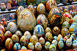 Stock photo of a Ukrainian souvenir painted eggs decorated with religious patterns Kiev Ukraine Horizontal