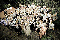 A portrait of all the guests at the Seattle wedding of Kari and Justin. (Photo by Andy Rogers/Red Box Pictures)