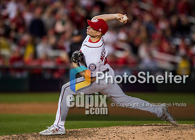 14 October 2016: Washington Nationals pitcher Mark Melancon on the mound during Game 5 of the NLDS against the Los Angeles Dodgers at Nationals Park in Washington, DC. The Dodgers edged out the Nationals 4-3, to take Game 5 of the Series, 3 games to 2, and move on to the National League Championship Series against the Chicago Cubs. Mandatory Credit: Ed Wolfstein Photo *** RAW (NEF) Image File Available ***