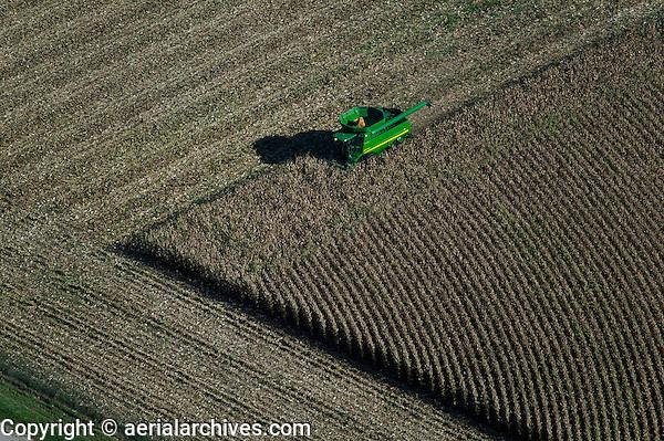 aerial photograph John Deere combine harvesting corn Iowa