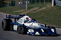 BOWMANVILLE, ONT: Patrick Depailler drives the Tyrrell P34 7/Ford Cosworth DFV during practice for the Canadian Grand Prix on October 9, 1977, at Mosport Park near Bowmanville, Ontario.