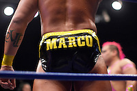 A Luchador (fighter) named Marco wears his name on his pants. Lucha Libre is a style of wrestling started in Mexico in 1933. The name means Free Fight, and matches tend to be focussed on spectacle and theatre with fans cheering for their favourite characters, who wear masks while jumping from the ropes, flipping opponents, and occasionally crashing into the crowd..&copy;Jacob Silberberg/Panos/Felix Features.