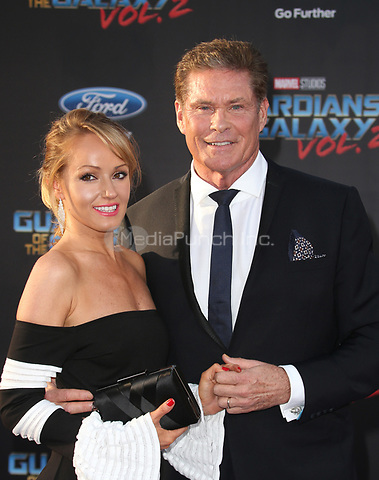 """HOLLYWOOD, CA - April 19: David Hasselhoff, Hayley Roberts, At Premiere Of Disney And Marvel's """"Guardians Of The Galaxy Vol. 2"""" At The Dolby Theatre  In California on April 19, 2017. Credit: FS/MediaPunch"""