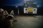 At the bus stand at dusk, Dwarka, Gujarat
