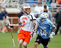 during the game in Charlottesville, VA. Johns Hopkins defeated Virginia 11-10 in overtime. Photo/Andrew Shurtleff