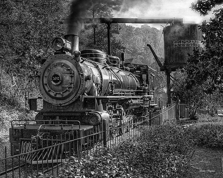 Black and white HDR image of Klondike Katie, the steam locomotive at the Dollywood theme park, Pigeon Forge, Tn.