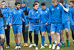 St Johnstone Training&hellip;14.04.17<br />Richie Foster and Danny Swanson pictured with Brian Easton during training at McDiarmid Park this morning ahead of tomorrow&rsquo;s game against Aberdeen.<br />Picture by Graeme Hart.<br />Copyright Perthshire Picture Agency<br />Tel: 01738 623350  Mobile: 07990 594431