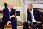 United States President Barack Obama meets US President -elect Donald Trump in the Oval Office of the White House in Washington, DC on November 10, 2016.<br /> Credit: Ron Sachs / CNP<br /> (RESTRICTION: NO New York or New Jersey Newspapers or newspapers within a 75 mile radius of New York City)