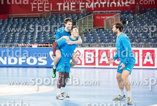 Sebastijan Skube of Slovenia, Luka Zvizej of Slovenia and Klemen Cehte of Slovenia  during practice session of Team Slovenia on Day 1 of Men's EHF EURO 2016, on January 15, 2016 in Centennial Hall, Wroclaw, Poland. Photo by Vid Ponikvar / Sportida