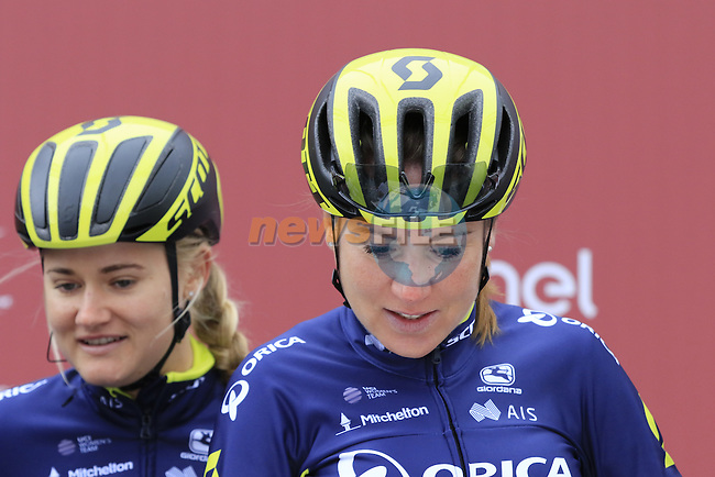 Orica-Scott team riders at sign on before the start of the Ladies 2017 Strade Bianche running 127km from Siena to Siena, Tuscany, Italy 4th March 2017.<br /> Picture: Eoin Clarke   Newsfile<br /> <br /> <br /> All photos usage must carry mandatory copyright credit (&copy; Newsfile   Eoin Clarke)