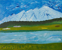 &quot;ROCKY MOUNTAIN HIGH&quot;<br /> <br /> I've been in Montana 15 years and I'm still on a rocky mountain high.<br /> <br /> This is another example of my primitive impressionist style. The Montana landscape is like living in a fairy tale world. Snow-capped mountains, green forest, green grass, grazing cattle, great pristine rivers. I can't help but put my childlike imagination into my painting.