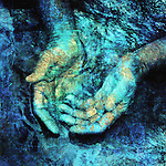 Mystical hands in the living waters. Photo based illustration.