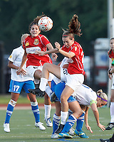 Western New York midfielder Angela Salem (6) and second half substitute Western New York midfielder Katy Frierson (23) overpower Boston Breakers midfielder Leslie Osborne (12) in a head ball battle. In a Women's Premier Soccer League Elite (WPSL) match, the Boston Breakers defeated Western New York Flash, 3-2, at Dilboy Stadium on May 26, 2012.