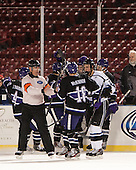 The Crusaders celebrate Adam Schmidt's goal. - The Bentley University Falcons defeated the College of the Holy Cross Crusaders 3-2 on Saturday, December 28, 2013, at Fenway Park in Boston, Massachusetts.