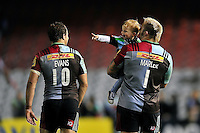 Joe Marler of Harlequins with his son after the match. Aviva Premiership match, between Harlequins and Sale Sharks on November 6, 2015 at the Twickenham Stoop in London, England. Photo by: Patrick Khachfe / Onside Images