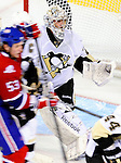 6 February 2010: Pittsburgh Penguins' goaltender Marc-Andre Fleury in second period action against the Montreal Canadiens at the Bell Centre in Montreal, Quebec, Canada. The Canadiens defeated the Penguins 5-3. Mandatory Credit: Ed Wolfstein Photo