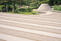 The thick raked gravel at at Ginkaku-ji, the Silver Pavillion, is meant to represent the ocean.
