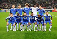 FUSSBALL   CHAMPIONS LEAGUE   SAISON 2011/2012   GRUPPENPHASE Bayer 04 Leverkusen - FC Chelsea    23.11.2011 Teamphoto Chelsea, hi.v.li.: John TERRY, Branislav IVANOVIC, David LUIZ, Torwart Petr CECH, Frank LAMPARD, vorne v.l. Raul MEIRELES, RAMIRES, Juan MATA, Didier DROGBA, Daniel STURRIDGE, Jose BOSINGWA,