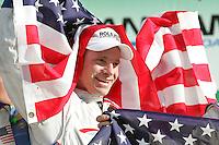 David Donohue celebrates his win in the Rolex 24 at Daytona , Daytona International Speedway, Daytona Beach, FL, January 2009.  )Photo by Brian Cleary)
