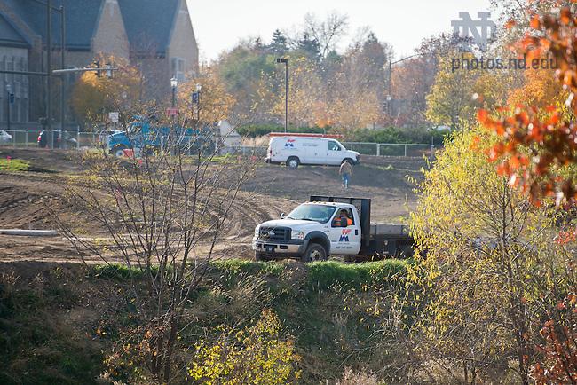 November 17, 2016; Sculpture Garden construction (Photo by Matt Cashore/University of Notre Dame)