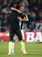 Calcio, Serie A: Torino, Juventus Stadium, 6 maggio 2017. <br /> Juventus' Gonzalo Higuain (l) and Gianluigi Buffon (r) at the end of the Italian Serie A football match between Juventus and Torino at Torino's Juventus stadium, May 6, 2017.<br /> UPDATE IMAGES PRESS/Isabella Bonotto