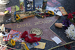 Tributes left on Michael Jackson's star on the Hollywood Walk of Fame after his death in 2009, Los Angeles, CA