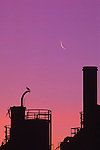 Gas Works Park sunrise with crescent moon and silhouetted tanks