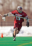23 March 2008: Bellarmine University Knights' Shane Andersen, a Sophomore from Denver, CO, in action against the University of Vermont Catamounts at Moulton Winder Field, in Burlington, Vermont. The Catamounts defeated the visiting Knights 9-7 at the Vermont home opener...Mandatory Photo Credit: Ed Wolfstein Photo