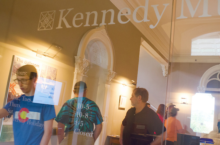 Guests leave the Kennedy Museum of Art, Lin Hall at the Ridges of Athens, Ohio on Sunday, September 22, 2013. Many families came to view Prints from the Permanent Collection Selected by Donald Roberts and other exhibitions during Parents Weekend. Photo by Olivia Wallace